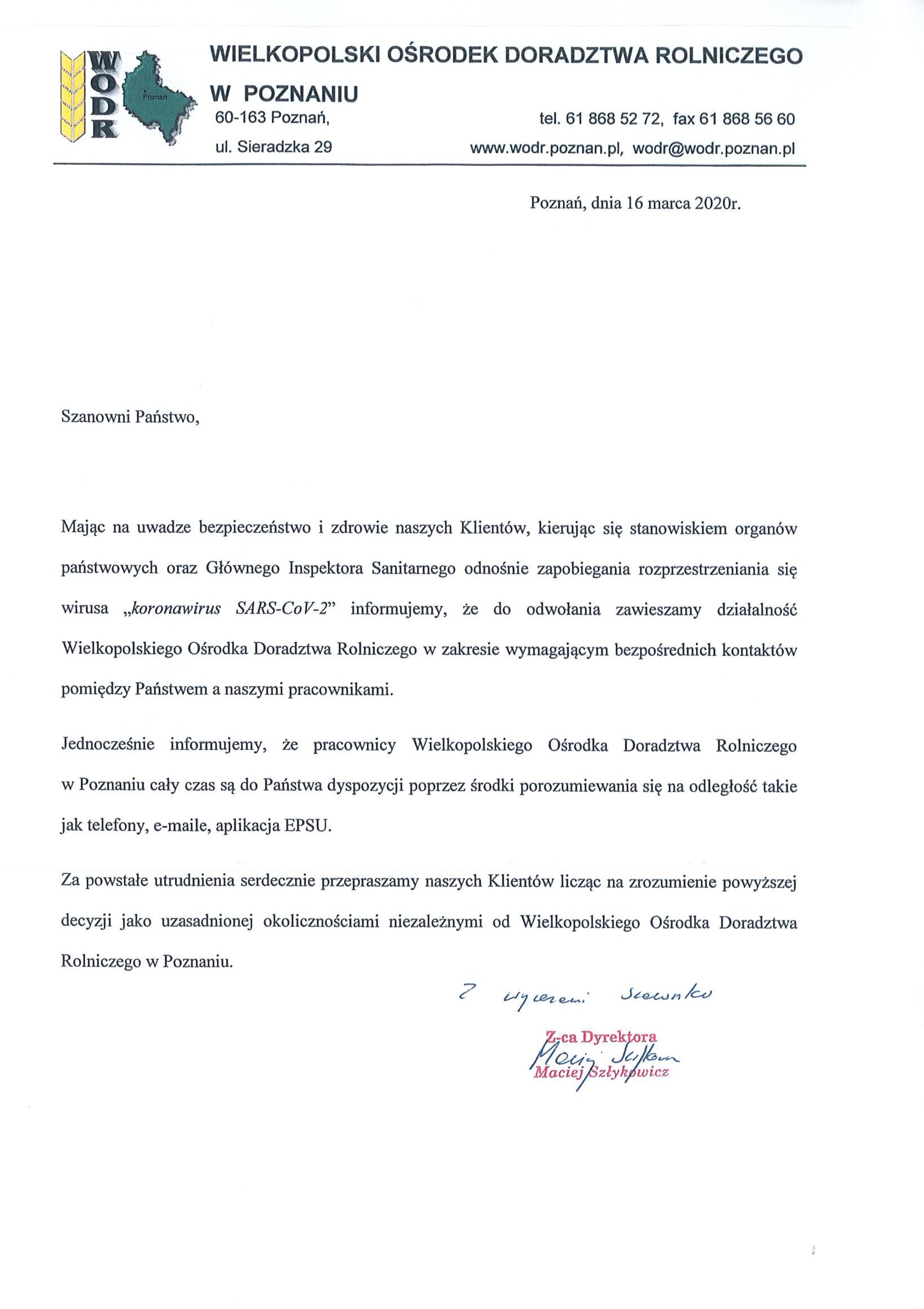 Zawieszenie działalności WODR do odwołania